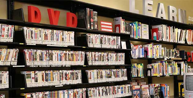 Library dvd shelves